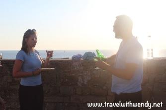 Enjoying local wine with John and crew - Piran Walking Tour