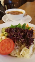 Goulaschsuppe and salad